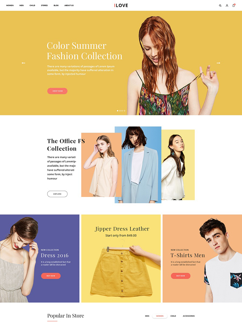 iLove - Responsive Clothing Fashion Shop WordPress Theme