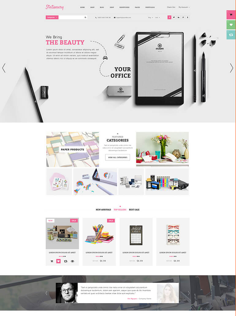 Stationery – Beautiful WordPress Theme for Office Supplies