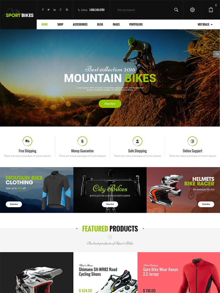 SportBikes - Responsive Sport Fitness WooCommerce WordPress Themes