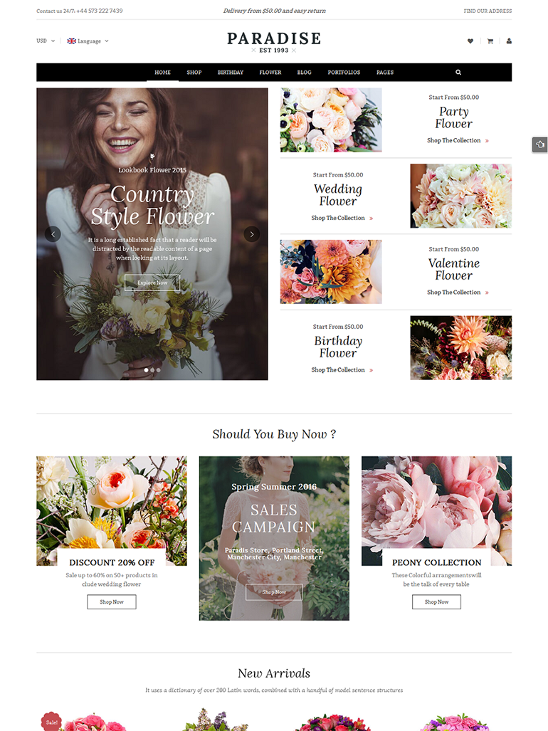 Paradise - Responsive Flower Shop WordPress Theme