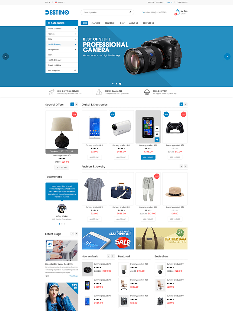 Destino - Digital Store & Fashion Shop WordPress WooCommerce Theme