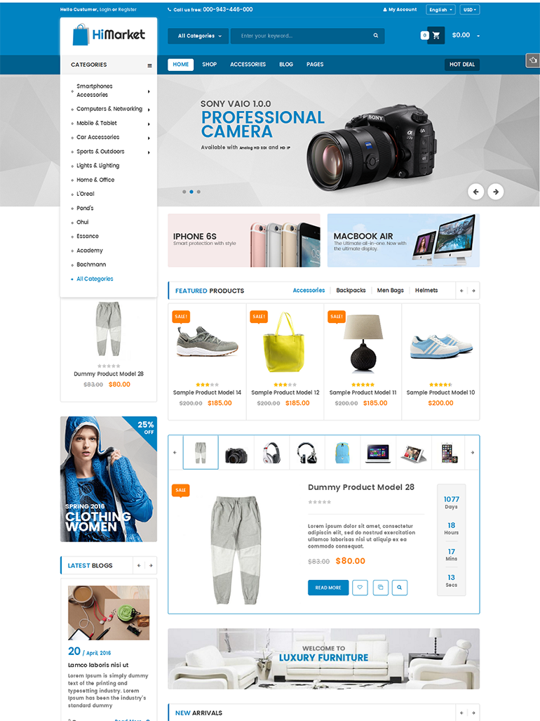 HiMarket - Electronics Store/Medical/Sport Shop WooCommerce Theme