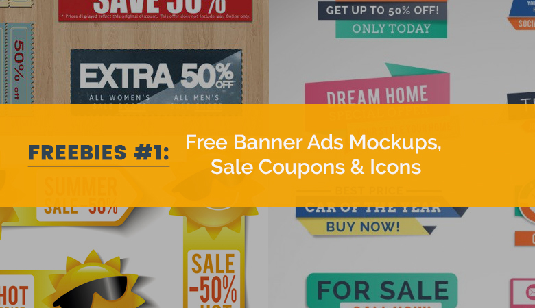 Free Impressive Web Banner Ads Mockups, Sale Coupons and Icons for Your Promotion