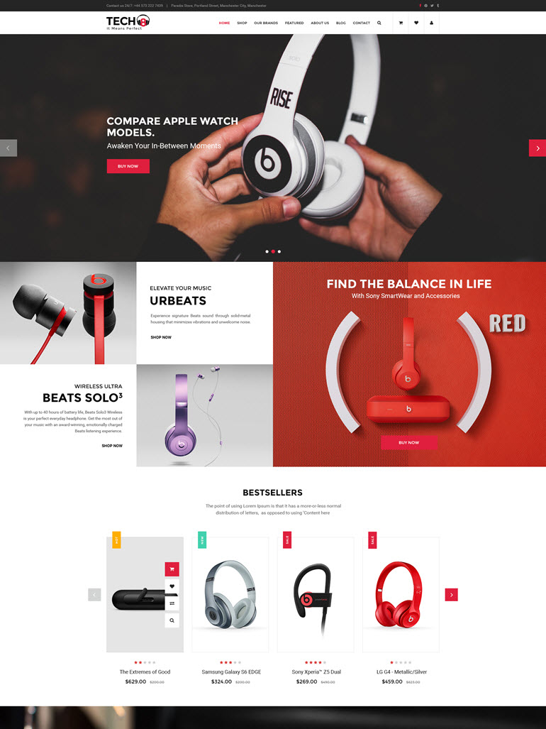 Responsive WooCommerce WordPress Theme - Tech8 HomePage 1