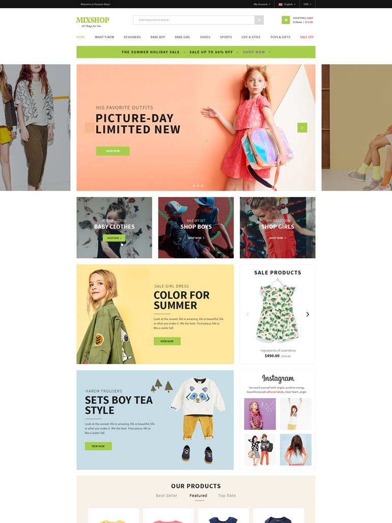 Responsive WooCommerce WordPress Theme - MixShop HomePage 2