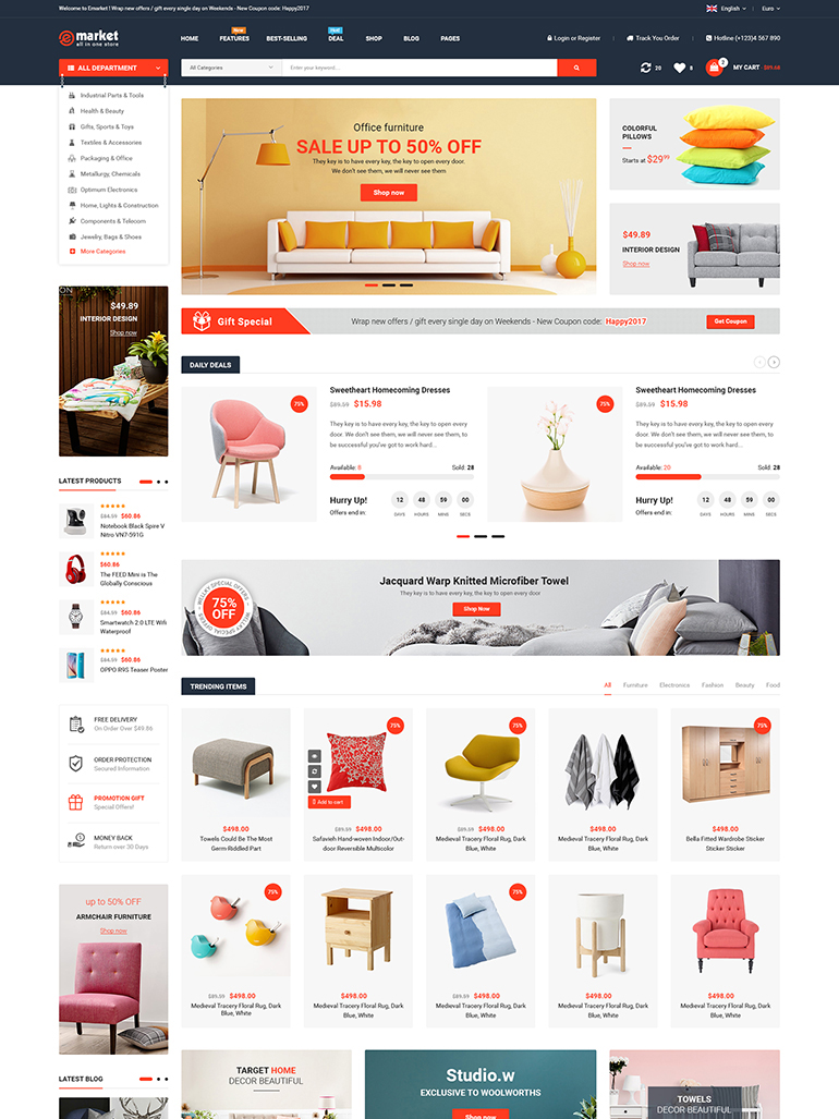 eMarket - Multi Vendor MarketPlace WordPress Theme Mobile Friendly