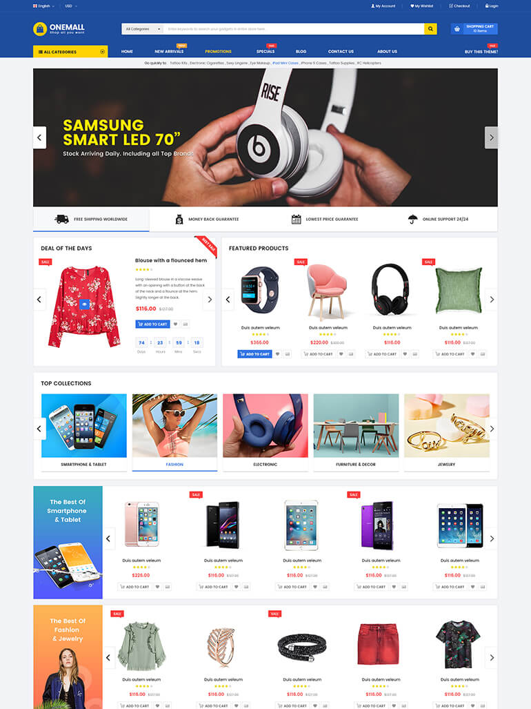 onemall multipurpose ecommerce marketplace theme