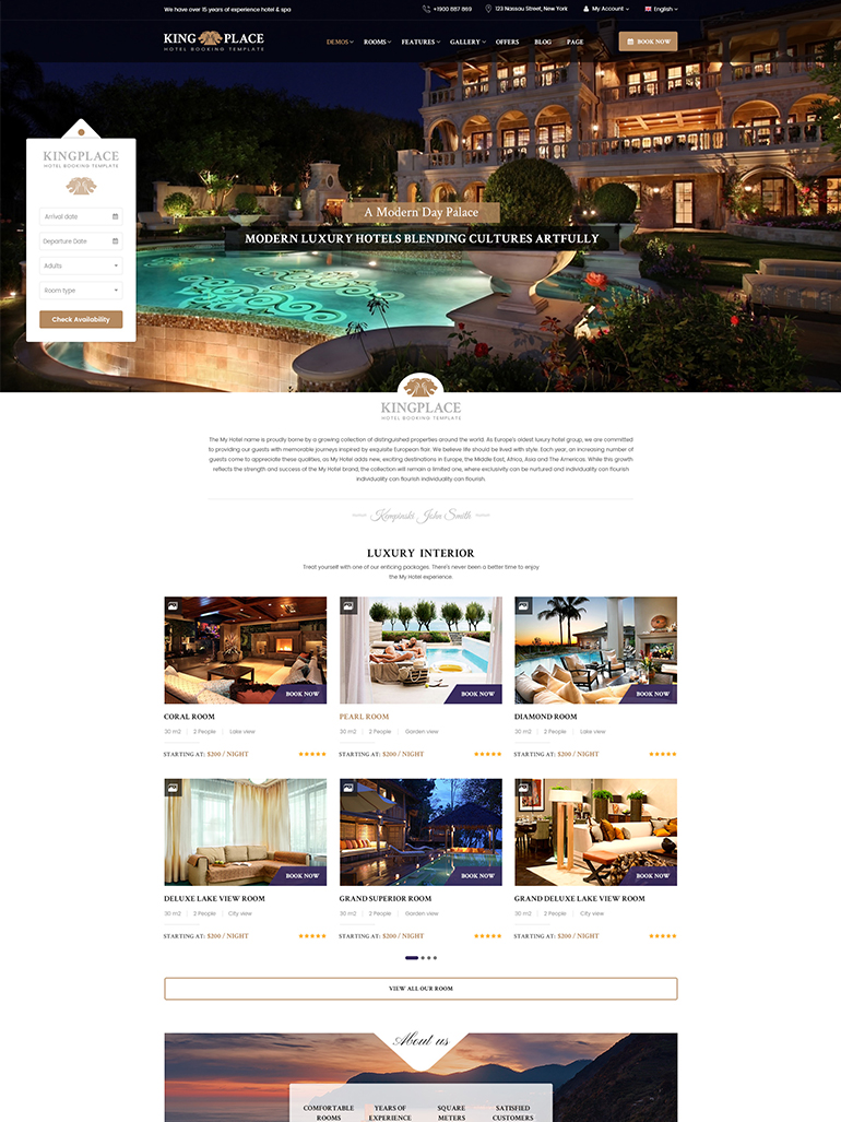 KingPlace - Hotel Booking, Spa & Resort WordPress Theme