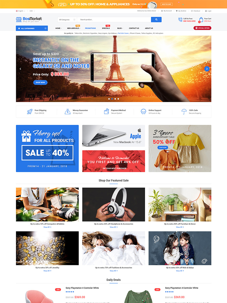 BosMarket - Multivendor WooCommerce WordPress Theme