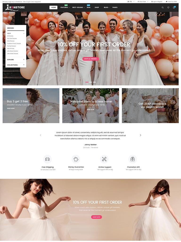 Wedding Dress WooCommerce WordPress Theme- KONStore  WPThemeGo