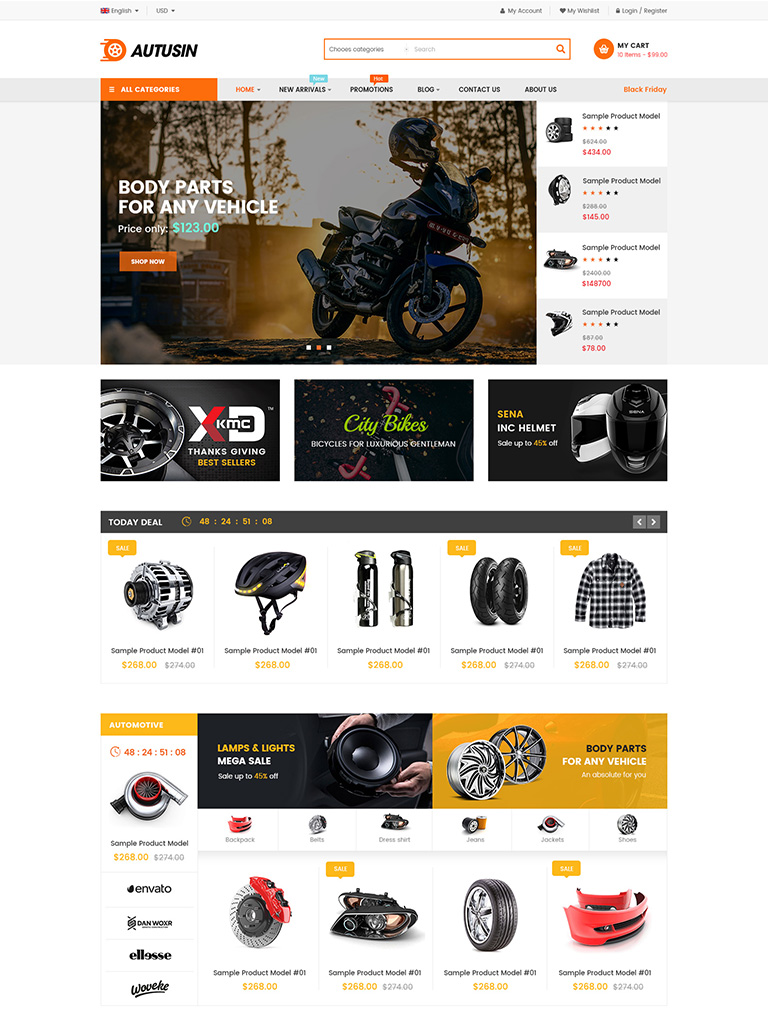 Autusin - Auto Parts & Car Accessories Shop WordPress WooCommerce Theme Mobile Layout Ready