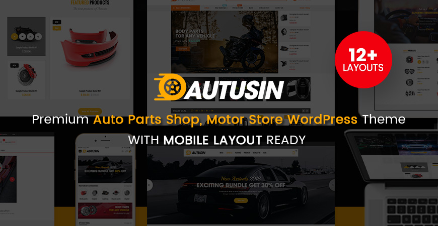 Autusin - Auto Parts Shop, Moto Store WooCommerce WordPress Theme (12+ Indexes & 3 Mobile Layouts)