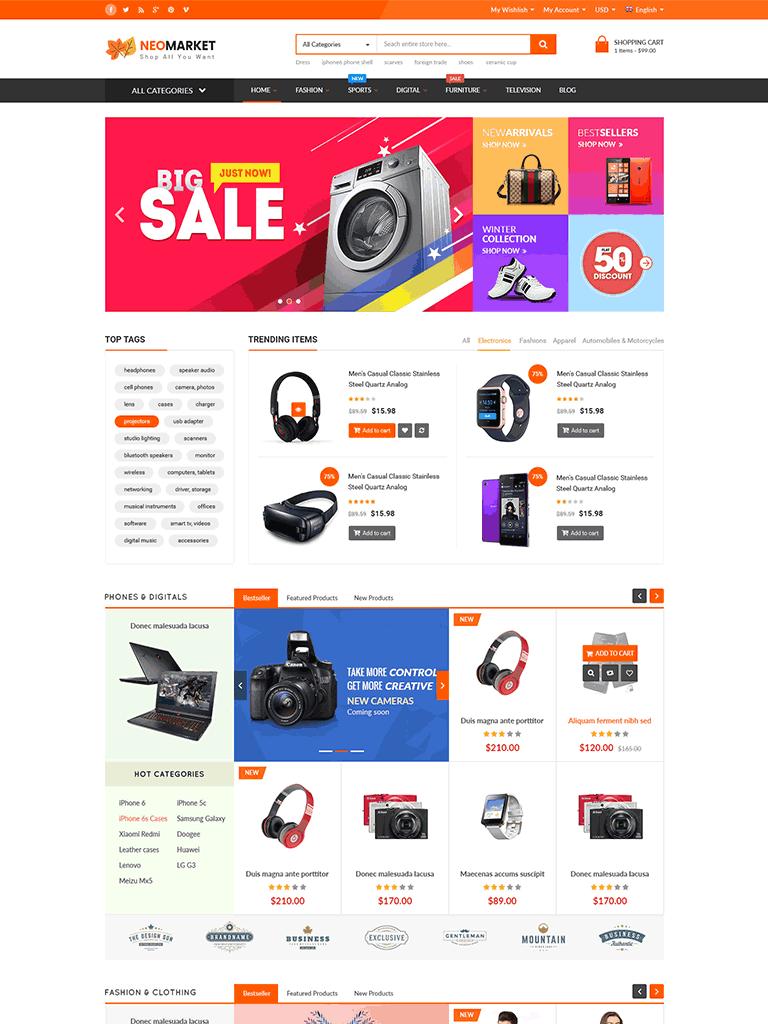 NEOMARKET - Modern Multi Vendor WooCommerce Theme