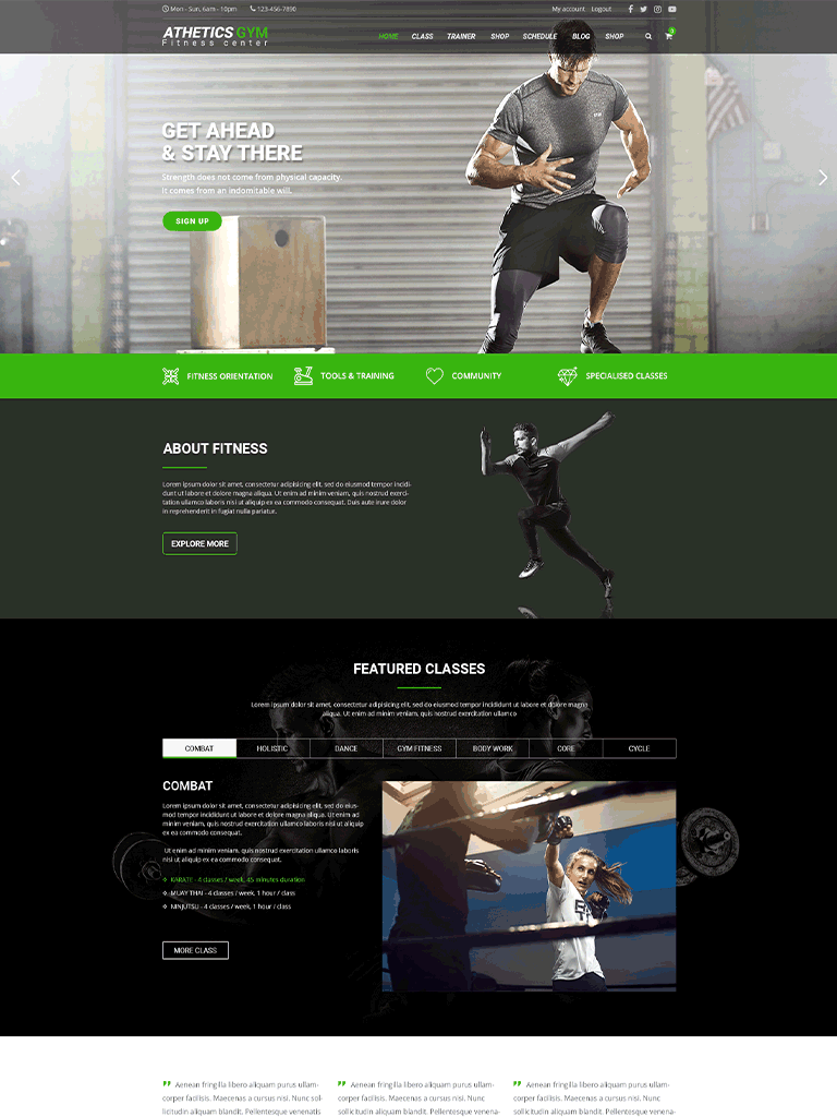 Athetics - Gym Fitness WordPress Theme