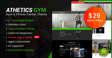 [NEW THEME] Athetics - Gym Fitness WordPress WooCommerce Theme - Only $29 Now!