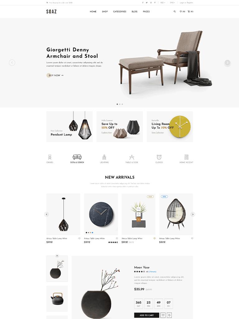 Soaz - Furniture Store WooCommerce WordPress Theme