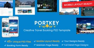 PortKey - Creative Tour Travel Booking PSD Template