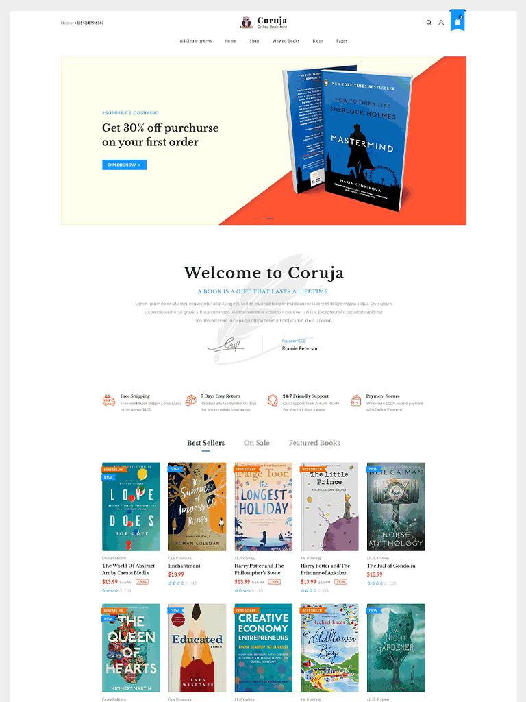 Coruja - Book Store & Publisher WordPress Theme