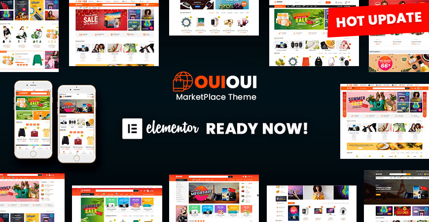 Elementor ready in OuiOui theme multi vendor marketplace wordpress