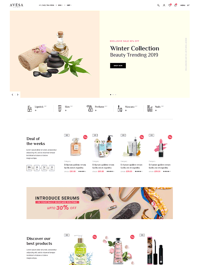 Avesa - Beauty, Cosmetics Store Elementor WooCommerce WordPress Theme