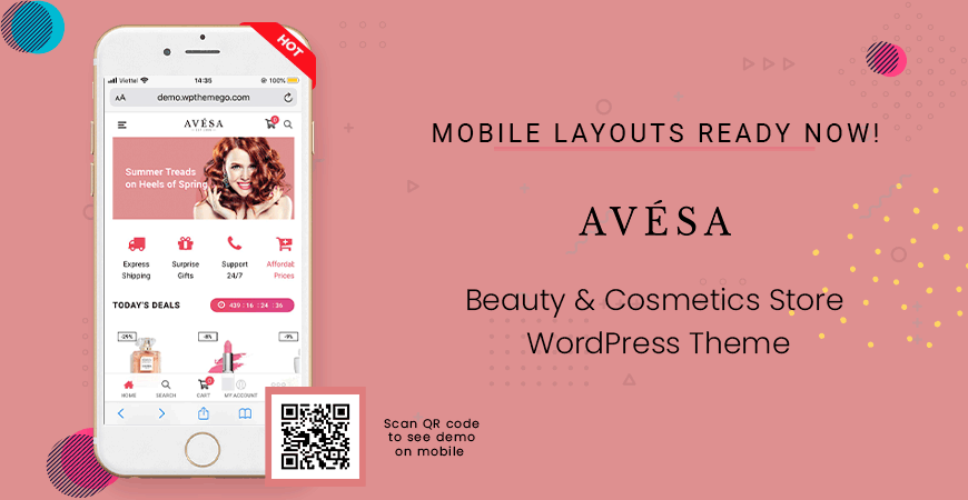 Mobile Layout Ready in Avesa - Beauty & Cosmetics Store WooCommerce WordPress Theme