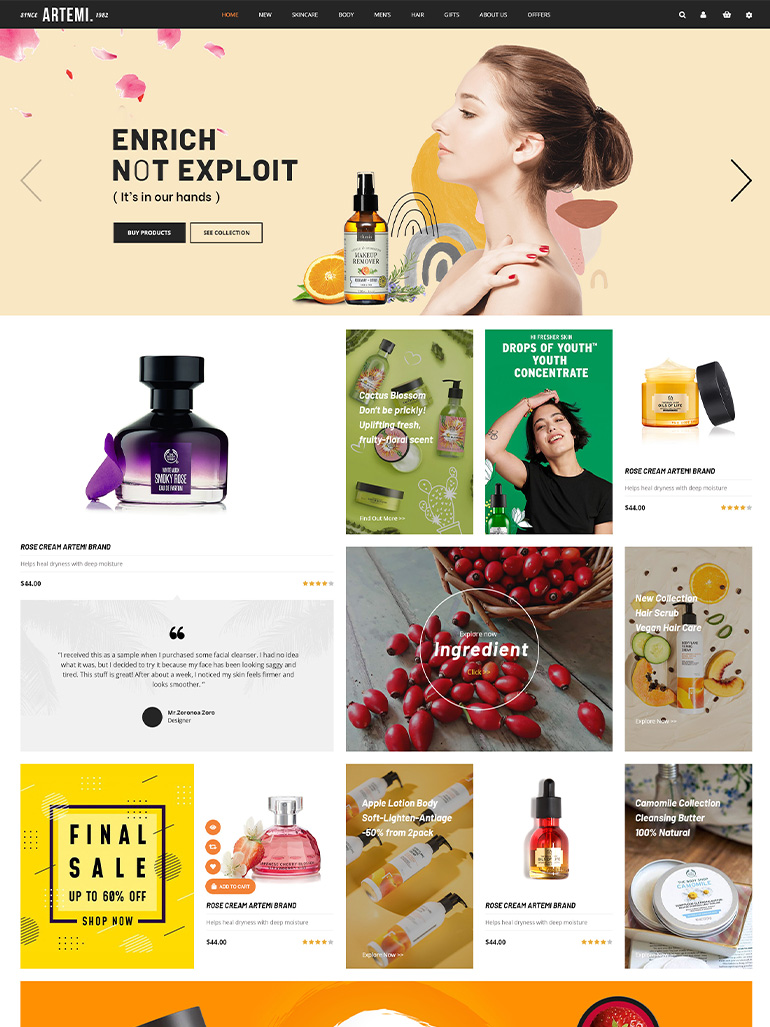 Artemi - Cosmetics Store Elementor WooCommerce WordPress Themes