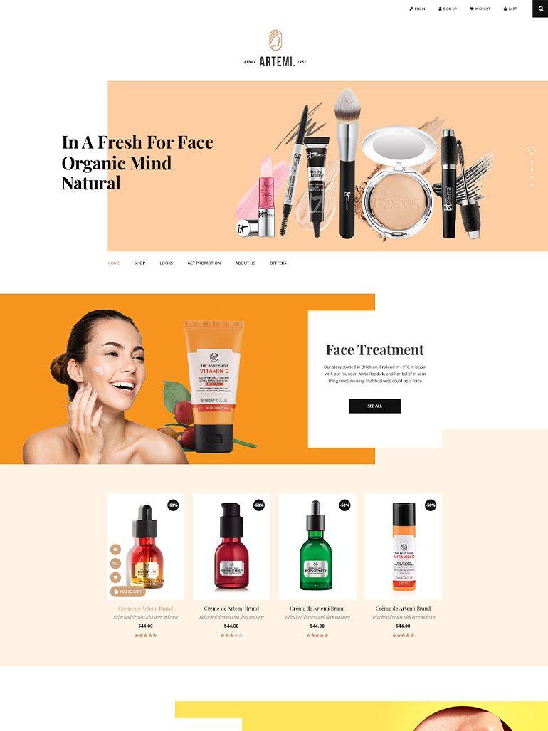 Artemi - Beauty Store & Cosmetics Store Elementor WooCommerce WordPress Theme